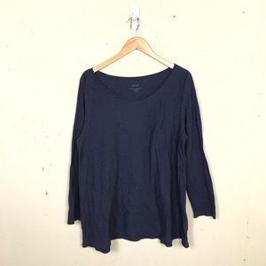 Pure Jill Long Sleeve Elliptical Tee Navy XL